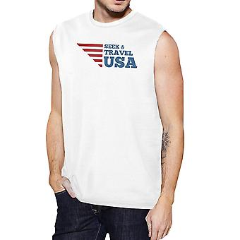 Söka & resa USA Mens vit ärmlös tröja rund hals bomull