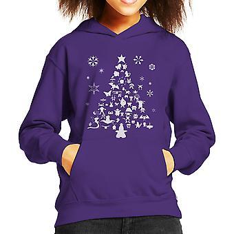 Pokemon Christmas Tree silhuet hvid barns hættetrøje