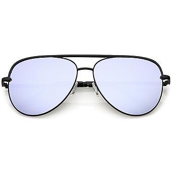 Premium Oversize Metal Aviator solglasögon med färgade spegel lins och tvärslån 60mm