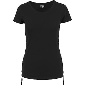 Urban classics ladies T-Shirt washed laced up tea