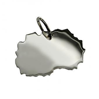 Trailer map Macedonia pendant in solid 925 Silver