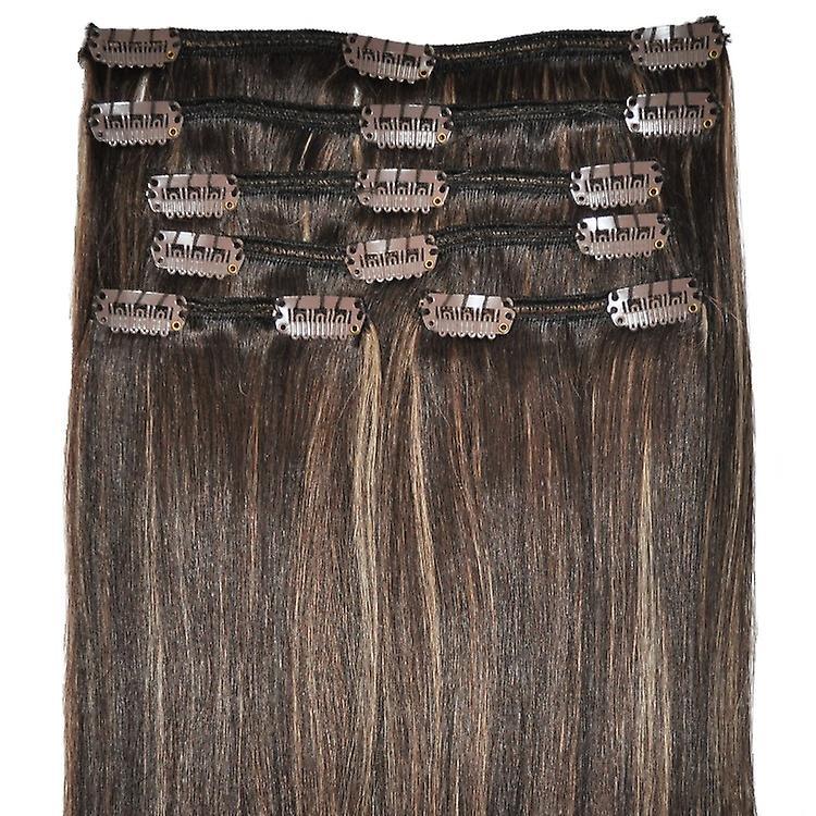#4/18 - dunkelbraun, goldblond hervorhebt, vollen Kopf, echte Clip-in Hair Extensions - 100 % Remy, dreifach Schuß, dicken Menschenhaar