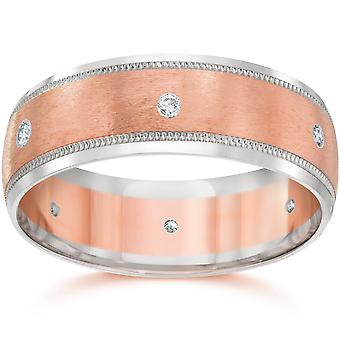 8MM Mens Two Tone 14K Rose Gold Diamond Wedding Band