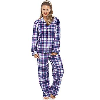 Camille Purple Checkered Fleece Pyjama Set
