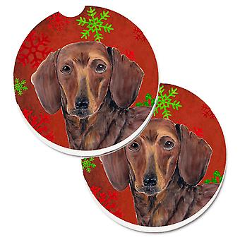 Dachshund Red and Green Snowflakes Holiday Christmas Set of 2 Cup Holder Car Coa