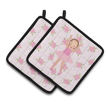 Ballerina Brown Hair Ponytails Pair of Pot Holders