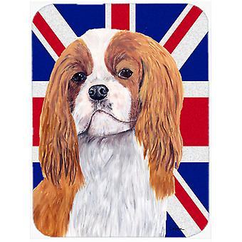 Cavalier Spaniel med engelsk Union Jack britiske flagget Glass kutte bord stor