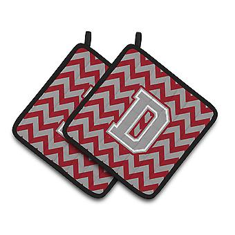 Letter D Chevron Crimson and Grey   Pair of Pot Holders