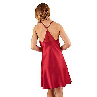 Slenderella GL8731 Frauen rote Satin langes Kleid Chemise Set