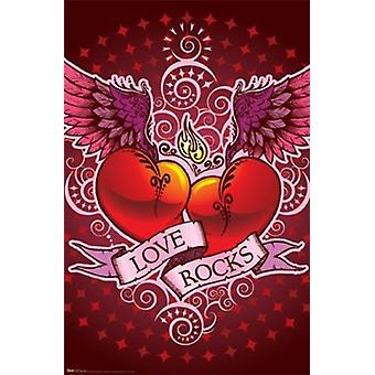 Winged Double Hearts Poster Poster Print