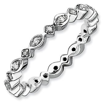 Sterling Silver Polished Prong set Patterned Rhodium-plated Stackable Expressions Diamond Ring - Ring Size: 5 to 10
