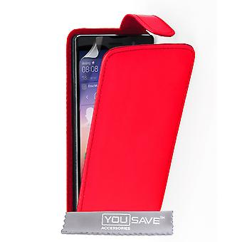 Yousave tillbehör Huawei Ascend P7 läder-effekt Flip Case - röd
