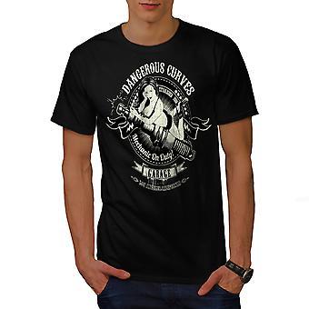 Dangerous Curves Biker Men BlackT-shirt | Wellcoda