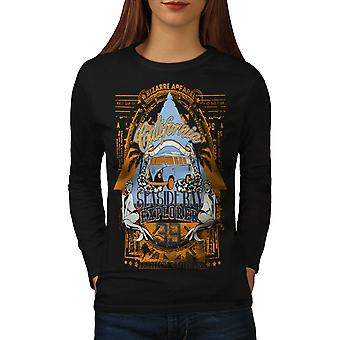 T-shirt van de koker van de BlackLong van de vrouwen van Seaside Beach Californië | Wellcoda