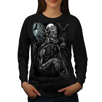 Mostro spaventoso pipistrello donne BlackSweatshirt | Wellcoda