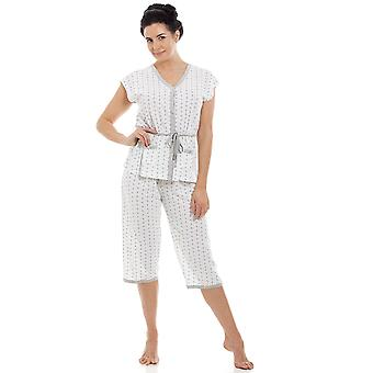 Camille Ladies Cotton Blend Short Sleeve Croped Bottoms Pyjama Set