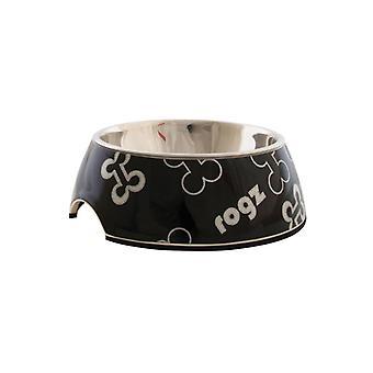 Rogz Lapz Trendy Bubble Bowl Black Bones Small 160ml