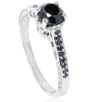 1 1 / 4ct Vintage negro anillo 14K oro blanco