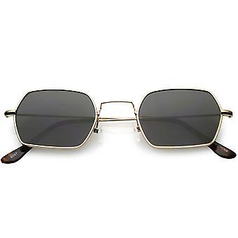 Geometric Hexagon Sunglasses Ultra Slim Metal Neutral Colored Flat Lens 51mm