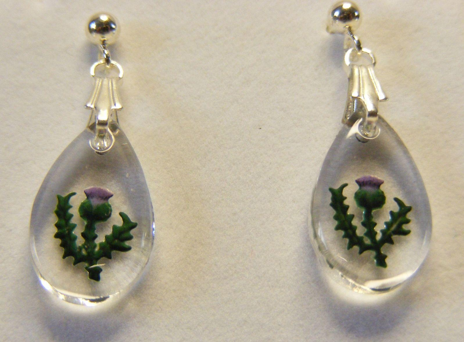 Hand Painted Thistle Teardrop Earrings
