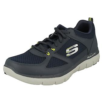 Mens Skechers Casual Trainers Lindman 52189 - Navy/Lime Leather - UK Size 12 - EU Size 47.5 - US Size 13