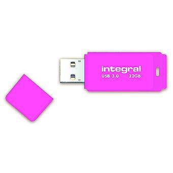 Integral Neon 32GB USB 3.0 Flash Drive - Pink
