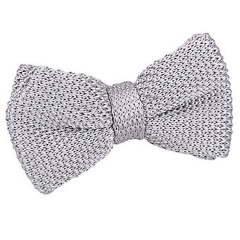 Silver Knitted Pre-Tied Bow Tie for Boys