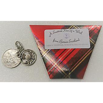 Craftilydunn Sixpence Kiss & Wish Charm Red Tartan