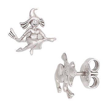 Kinder Ohrstecker Hexe 925 Sterling Silber mattiert Ohrringe Kinderohrringe