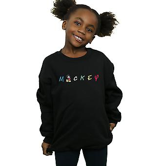 Disney Girls Mickey Mouse Wording Logo Sweatshirt