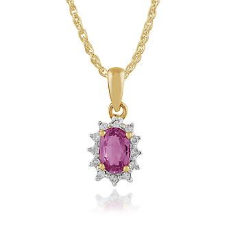 Gemondo 9ct Yellow Gold 0.52ct Pink Sapphire & Diamond Cluster Pendant on Chain