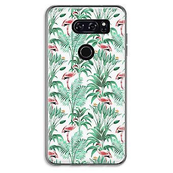 LG V30 Transparent Case - Flamingo leaves