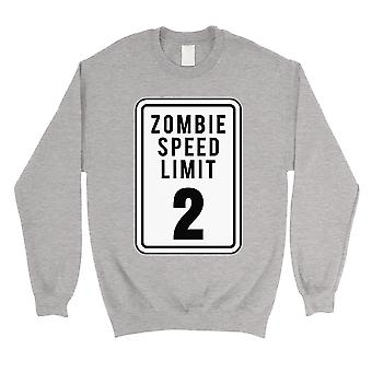 Zombie Speed Limit Unisex Grey Crewneck Sweatshirt