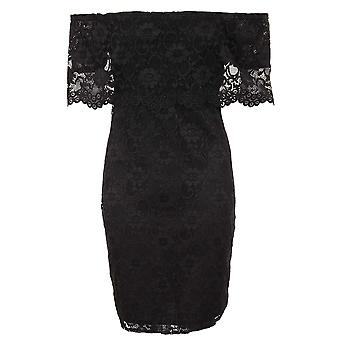 Ladies Scallop Bardot Off Shoulder Floral Lace Overlay Lined Bodycon Mini Dress