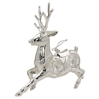Hanging decoration deer with crystal elements silver plated