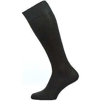 Pantherella Sackville Flat Knit Over the Calf Cotton Lisle Socks - Black