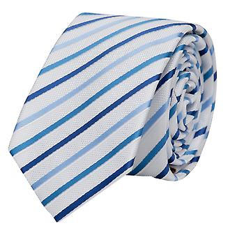 Fabio Farini white blue striped tie, necktie, ties, tie, 8 cm,