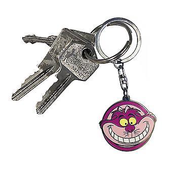 Alice im Wunderland Schlüssel- anhänger Alice Cheshire Cat bedruckt, silberfarben, aus Metall.