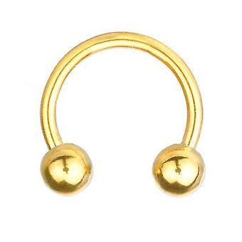 Herradura circular Barbell Piercing de oro plateado, joyería del cuerpo, espesor 1,2 mm | Diámetro 6-12 mm