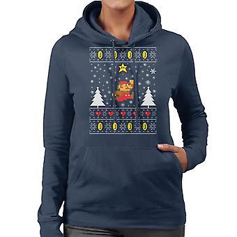 Super Mario Christmas Knit Pattern Women's Hooded Sweatshirt