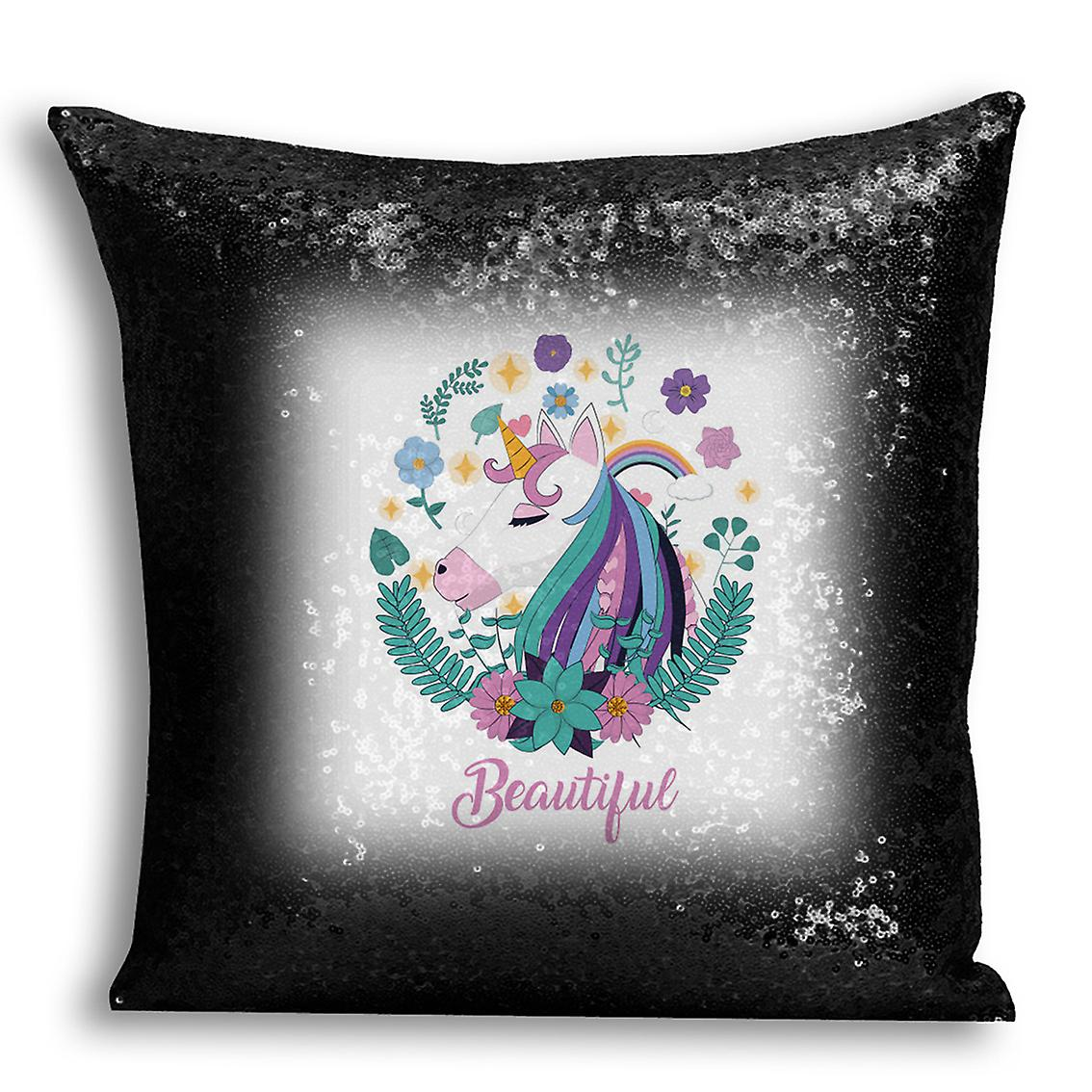 Design Cover Sequin For I tronixsUnicorn Home Black Decor Printed 13 CushionPillow j5Ac34LRq
