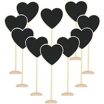 10PC trä Chalkboard hjärtan rustika dekorativa tabell placeringar - TRIXES