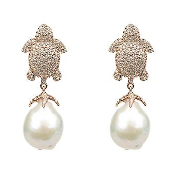 Latelita Turtle Earrings Baroque Pearl Stud White Rose Gold Pink 925 Silver CZ