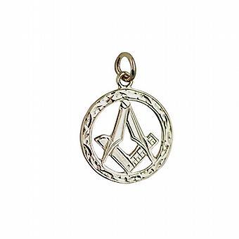 9ct Gold 21mm handgravierte Masonic Wappen im Kreis mit G-Anhänger