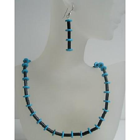 Onyx Tube And Turquoise Rings Necklace Set Custom Genuine Bead Jewelry Set w/ Sterling Silver Earrings