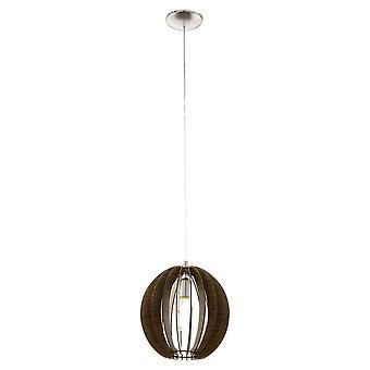 Eglo - médio Cossano única luz de teto pendente em níquel acetinado e escuro EG94635 acabamento em madeira