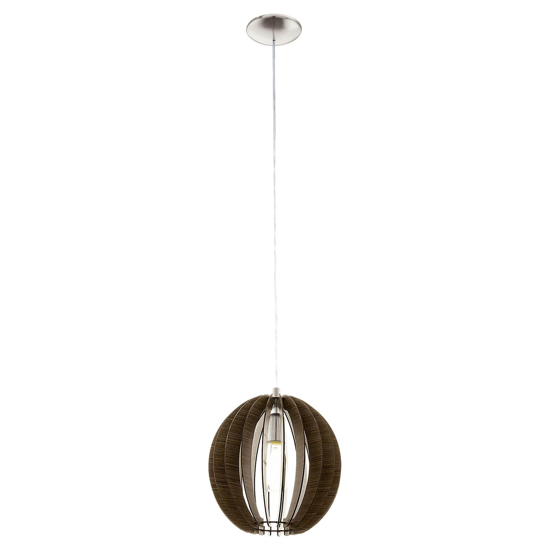 Eglo - Cossano Medium Single lumière Ceiling pendentif In Satin Nickel And Dark bois Finish EG94635