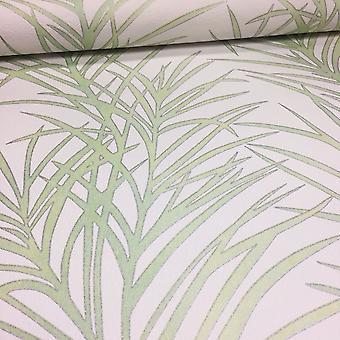 Floral blad bakgrunn blomst Palm Tree hvit & Green lim vegg-Erismann