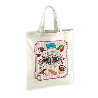 Harry Potter fabric bag of Honeydukes coat cream-colored, printed, 100% cotton.