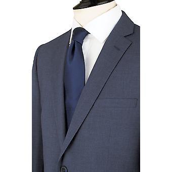 Dobell Mens Mississippi blauen Anzugjacke zugeschnitten Fit Kerbe Revers